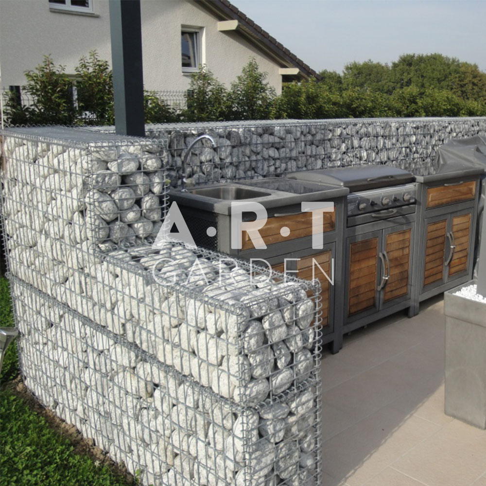 muret brise vue gabion pour cuisine exterieure am nagement ext rieurs. Black Bedroom Furniture Sets. Home Design Ideas