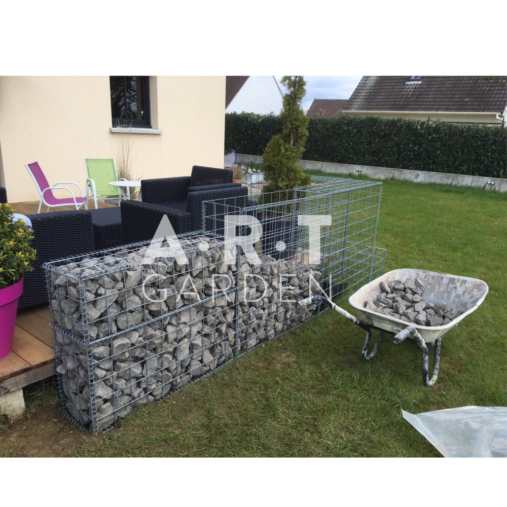 cloture de terrasse en gabion am nagement ext rieurs. Black Bedroom Furniture Sets. Home Design Ideas